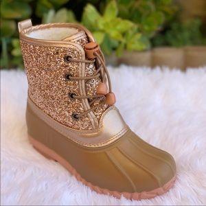 Girls Rose gold glitter Duck boots bundle